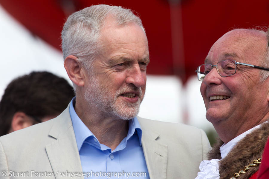 Jeremy Corbyn, the leader of the Labour Party, with the Mayor of Durham, at the 2017 Durham Miners' Gala.