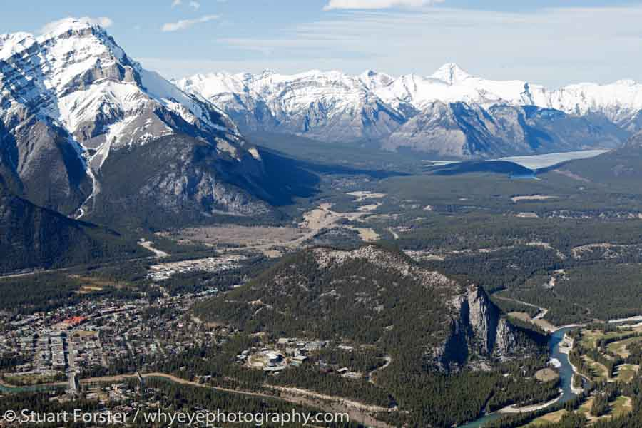 The town of Banff. The Fairmont Banff Springs Hotel stands next to Tunnel Mountain.