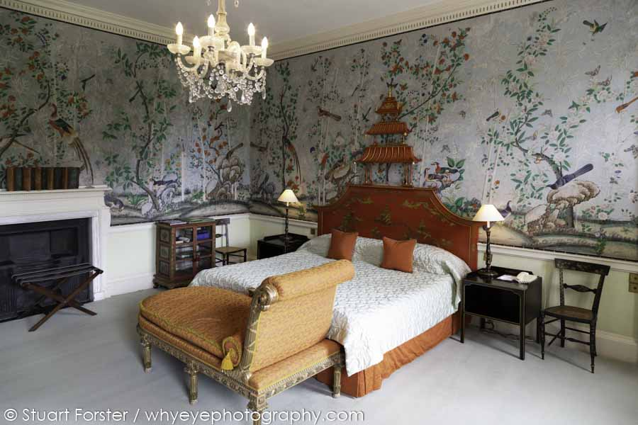 The Prince Regent suite at Brocket Hall features hand-painted Chinese-style wallpaper and was slept in by Prince George, who became King George IV