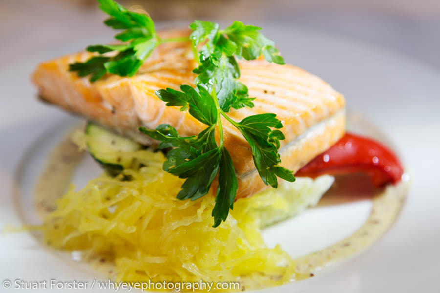 A succulent salmon fillet served in the Rocky Mountaineer's dining carriage.
