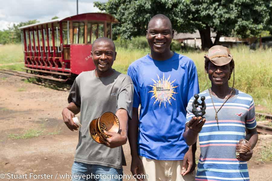 Zambezi Tram, Victoria Falls, Men, Souvenirs, Zimbabwe