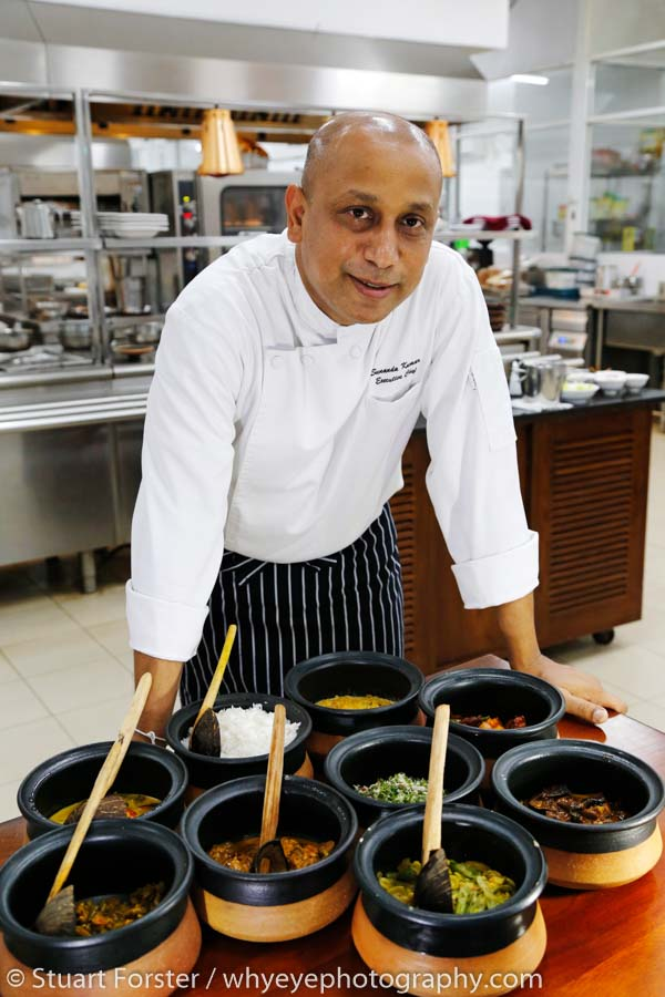 Sunanda Kumar, the Executive Chef at the Cinnamon Lodge Habarana, during a cookery demonstration in the hotel kitchen.