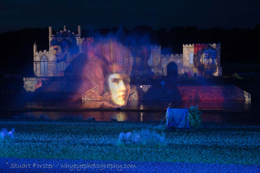 A painting commissioned by the Bishop of Durham is projected onto a film of water during Kynren